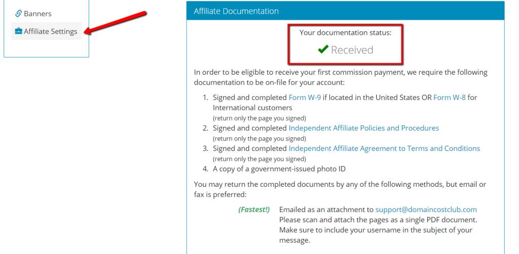 DomainCostClub, so sieht es in Deinem Account nach erfolgreicher Verifikation aus