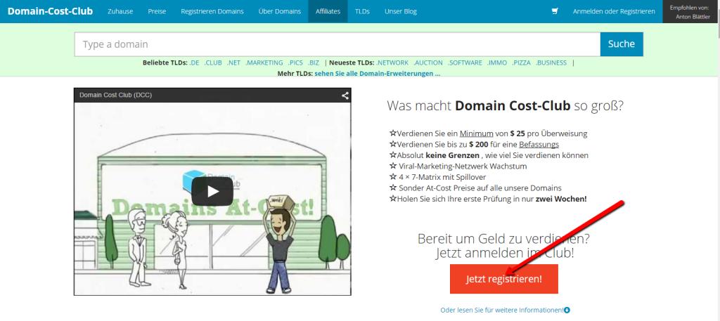 Domain_Cost_Club_Registration_1._Schritt_DCC_Registration