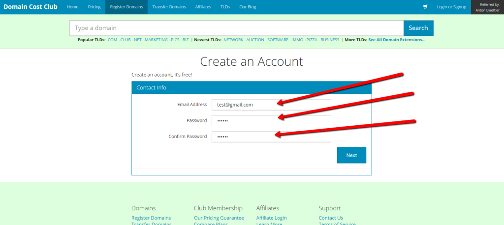 Domain_Cost_Club_Registration_Schritt_2_DCC_Registration
