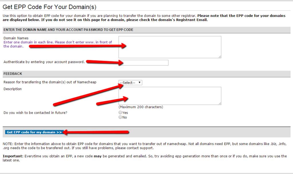 Domain-Cost-Club Anleitung zum EPP Code abrufen bei Namecheap